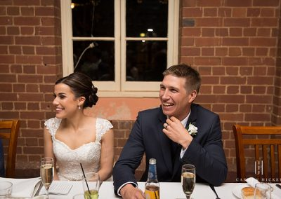 Jarrod and Steph in Junee reception venue