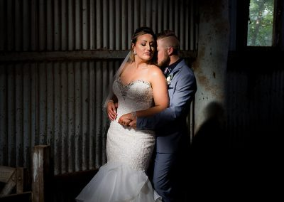 Jono and Adelle at Orange Grove Gardens Culcairn photo shoot in old shearing shed