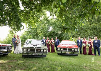 Jono and Adelle at Orange Grove Gardens bridal party and cars